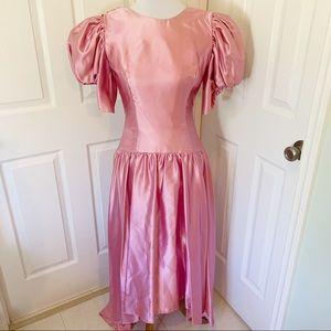 Vintage 80's pink taffeta hi-low bow prom dress 8